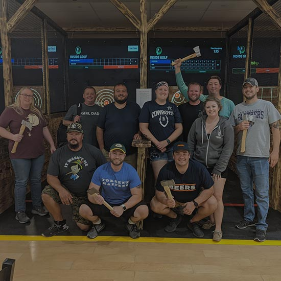 group of axe throwing players