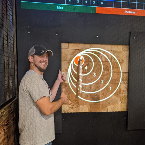 Axe thrower makes a bullseye